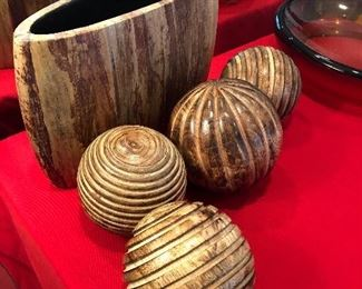 Crate and Barrel wood vase and decor
