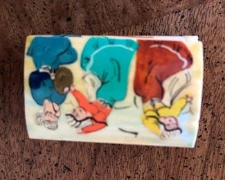 Small hand painted netsuke, bone boxes
