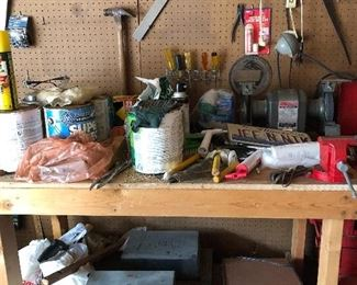 Loads of tools, paint, painting supplies