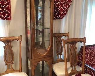 curio cabinet, and chairs, notice the 2 valances those are for sale too