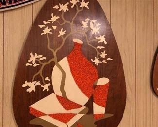 Vtg Mid Century Modern Pebble Art Walnut Still Life Teardrop Wall Hanging Belart series of 3