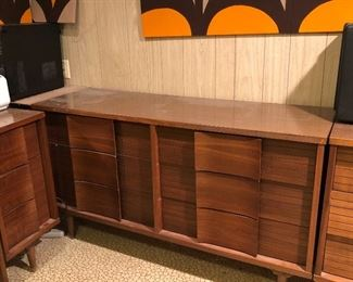 Mid Century Modern Johnson Carper Fashion Trend 6 drawer dressers, there are a pair of these beauties and a desk and chair to match