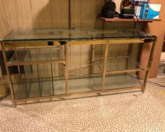 Brass Mid Century open credenza with record slots