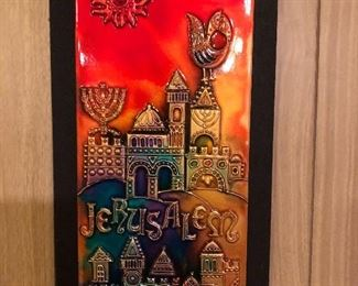 Jerusalem copper enamel wall relief series of 4