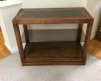 Glass top and wood console table