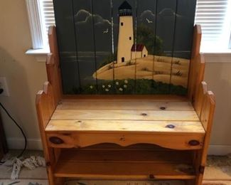 Pine bench with painted light house scene.