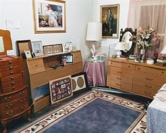 Rug and Jewelry Stand are gone..mid century dresser w/ mirror and headboard still available!