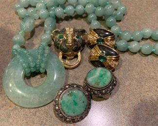 Jade, Kenneth J. Lane for Avon, and Chinese filigree earrings