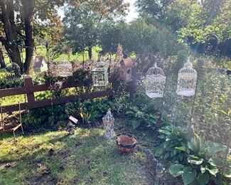 Bird cages and shepherd's hooks