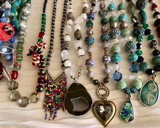 Hundreds of necklaces and bracelets.