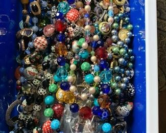 Bins of lovely beaded necklaces
