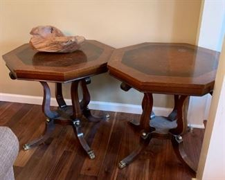 #5		(2) Octogonal Pedistal End Tables w/brass/claw feet  28x27.5  $75 each