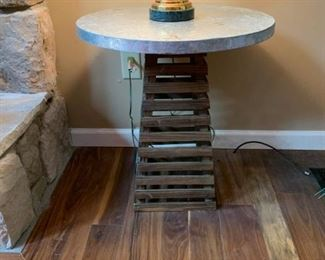 #6		Crate Style Pyramid Base W/Tin Top  22 round top x 24H	 $75.00
