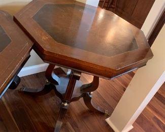 #5(2) Octogonal Pedistal End Tables w/brass/claw feet  28x27.5  $75 each
