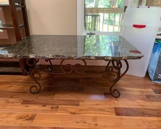 "#7		Iron Base /Granite Top coffee Table - You Move Only  46x31x19  (granite 1.25"" thick)	 $175.00"