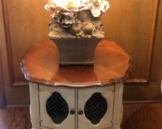 Antique White End Table with Cabinet