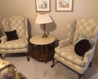Upholstered Arm Chairs with Marble Top Occasional Table