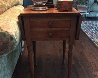 One of two fabulous walnut drop side double drawer side tables