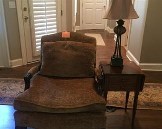 gold velvet arm chair...many lamps of all styles!