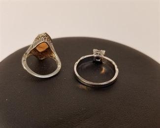 18 K White Gold Ring & Sterling Ring https://ctbids.com/#!/description/share/233695