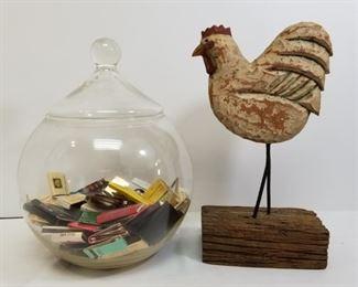 Glass jar of vintage matchbooks and chicken folk art https://ctbids.com/#!/description/share/233789