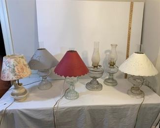 Glass and Faux Oil Lamps, Ceramic Lamp https://ctbids.com/#!/description/share/233741