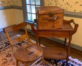 Wooden cart with drawer, chair with brown seat and fox case with latch and lock. https://ctbids.com/#!/description/share/233753