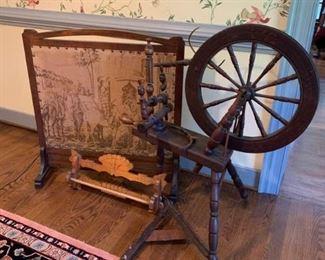 Old spinning wheel, screen and wooden rack https://ctbids.com/#!/description/share/233754