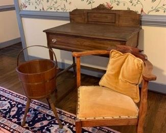 Vintage table with drawer, vintage chair and bucket stand        https://ctbids.com/#!/description/share/233755