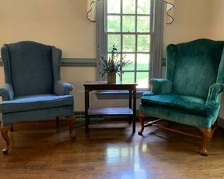 Wingback Chairs (2) and Side Table https://ctbids.com/#!/description/share/233776
