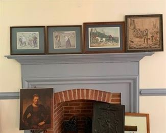 Vintage pictures with wood frames, canvas print, black iron embossed picture, and mirror   https://ctbids.com/#!/description/share/233778