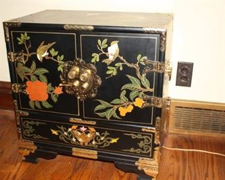 Beautiful Chinese enameled storage chest with internal drawers.