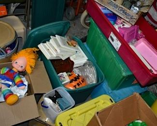 Items needing to be unpacked, rainbow brite, barbie furniture, halloween blow molds, American girl books and tons more toys