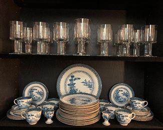 The crystal is London by Orrefors circa 1980 this pattern is very rare! The China is Lowest Dear by Booths of London. Booths makes the similar pattern titled Blue Willow which was used in the White House early on and in the home of Thomas Jefferson