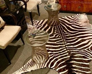 A pair of Platner tables for Knoll sit on an antique African zebra rug. Notice the Baltic Neoclassical chest in the background circa 1830 and a pair of  Dakota Jackson beautiful chairs !!