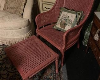 A low antique painted chair ready for your choice of  upholstery
