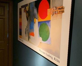 Jasper John's framed poster on the landing of the second floor