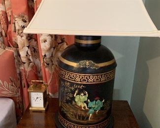 One of a pair of Chinese tea tins made into lamps