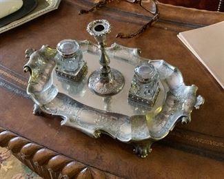 Antique silver desk set circa 1825