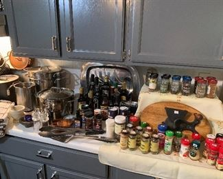Stockpots unopened sauces and seasonings