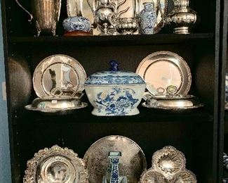 Silver and antique blue and white Imari