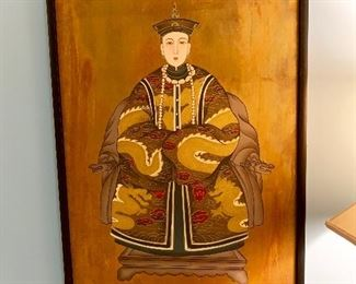 One of a pair of Royal Chinese painted on board circa 1875 purchased by the family in Hong Kong in 1992