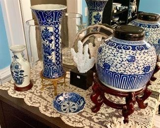 A selection of antique blue and white Imari, silver and crystal