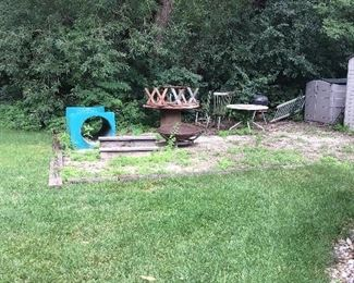 Fire pit, Round redwood Table n Chairs