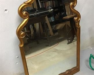 GORGEOUS Gold Leaf Mirror - Has Matching Wall Shelf perfect for the foyer or hallway