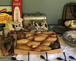 Vintage items, Bowling Pin and Balls Set, Cast Iron, Wrought Iron, Coca Cole Thermometer, Pepsi Cola Signs, Antique Lunch Box