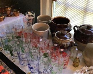 1950s Hazel Atlas Glasses - some Nursery Rhymes , Crocks, Large Early American Cut Glass Bowl
