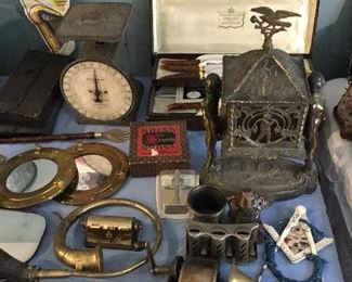 Scale, Horns, Walking Sticks, Coin Machine, Razors, Knives, Drafting Kits, Old CUBS Pennant