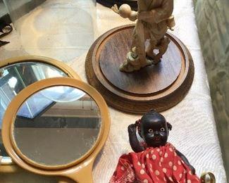 Vintage Black Americana Doll, Bakelite Mirrors