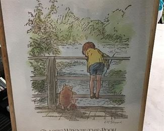 "36"" x 25"" Rare Winnie the Pooh Art"